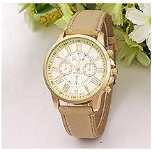LinTimes Fashion Women Men Quartz Watch Roman Numeral Scale Mini Deco Dials Casual Wrist Watch Beige