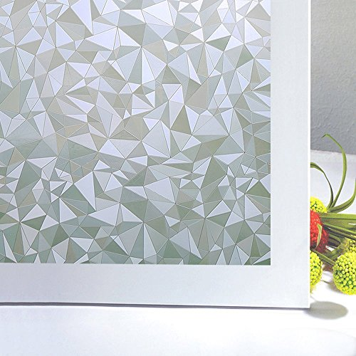 (Bloss Privacy Window Film,3D Diamond Decorative Windows Cling Stained Glass Film For Home Anti UV 17.7