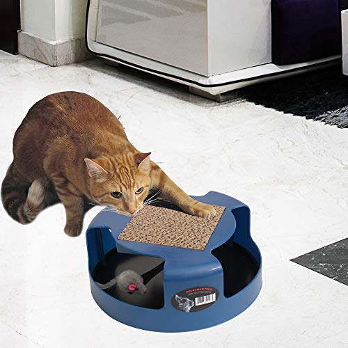 Cat Toy Interactive Cat Training Exercise Kitten Mouse Play Toys Cat & Mouse Automatic Spinning Chase Toy with Cat Scratcher Scratching Pad (No Batteries Needed)