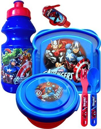 Disneyland Survival Kit Lunch on the Go Water Bottle , Sandwich and Snack Container with Fork and Spoon Marvel Super Heroes Avengers and Spiderman Includes Handy Hand Sanitizer ! (Avengers Small Pull-top)