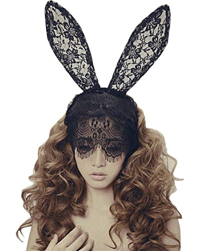 Black Rabbit Mask Costume (Wowlife Bunny Rabbit Ears Venetian Filigree Lace Veil Costume Masquerade Mask Hairband (Black))