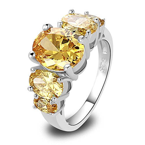 Narica Womens Brilliant 8mmx10mm Oval Cut Citrine Gemstone Cocktail Ring