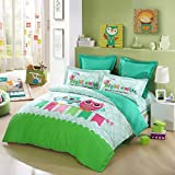 LOVO KID'S Best Friends Owl 100% Cotton 4-Piece Bedding Set 1x Duvet Cover, 1x Flat Sheet and 2 Pillow Covers Mutli-color Full