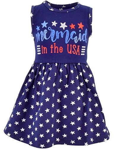 Unique Baby Girls Mermaid in The USA Sleeveless 4th July Dress