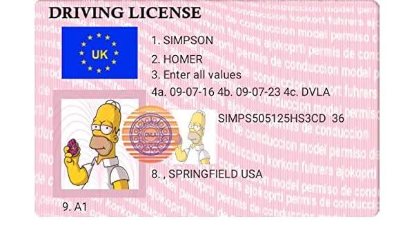Diseño de Homer Simpson Licencia de conducir - Llavero ...