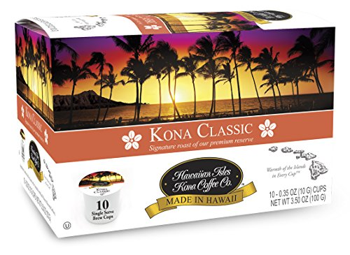 Hawaiian Isles Kona Coffee Co. Kona Classic Single-Serve K-Cup Pods Compatible, Medium Roast, 10 Count