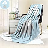 YOYI-HOME Luxury Double-Sides Reversible Fleece Duplex Printed Blanket Elephant Nursery Little Baby Elephant with Big Balloons Happy Funny Icon Mauve Light Blue White Travelling and Camping Blanket