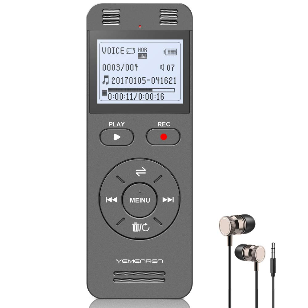 Digital Voice Activated Recorder, Yemenren 8GB Sound Audio Recorder Dictaphone for Lectures Meetings, USB, Rechargeable (Grey) by YEMENREN