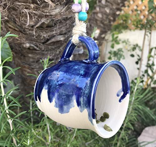 Blue and Cream Hanging Bird Feeder, handmade ceramic garden art