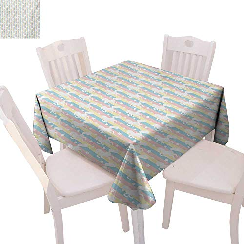 BlountDecor Unicorn Printed Tablecloth Pastel Colored Vertical Stripes with White Unicorn Silhouettes and Stars Fantasy Flannel Tablecloth 50