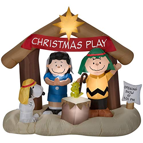 Holiday 6 ft Peanuts Nativity Airblown Inflatable Christmas Play Charlie Brown Lucy Snoopy Woodstock