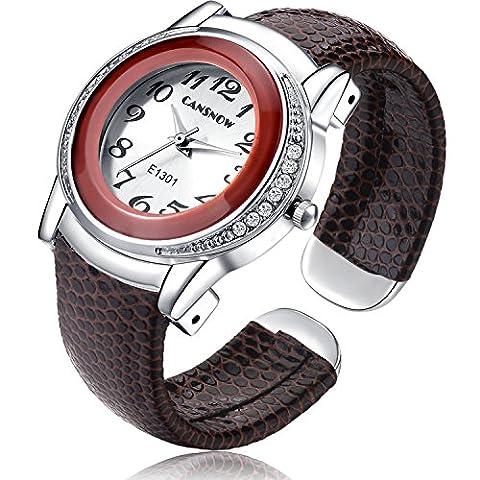 Fashion Women's Round Case Bracelet Watches Pu Leather Bangle Cuff Analog Watch - Brown (Brown Leather Geneva Watch)