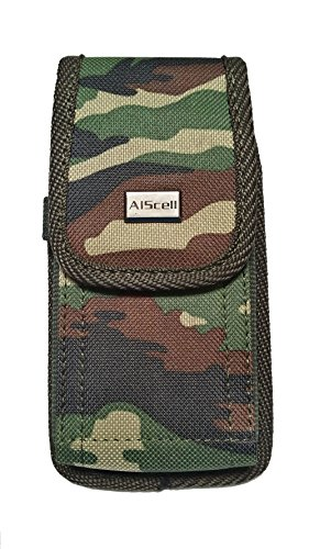 SAMSUNG GALAXY S9 S8 S7 S6 S5 S4 ~ Pouch Holster SUPER DUTY Camoflauge Nylon Canvas Case w/ Stainless Belt Clip Belt Loops [Vertical/Horizontal]+Carabiner (FOR BARE PHONE) (CAMO small) (Belt Camoflauge)
