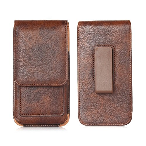 Premium PU Leather Vertical Case Holster with Belt Clip for Samsung Galaxy Note 8 / Galaxy S8 Active / Motorola Moto G5s / E4 Plus / LU Studio J8 / Grand XL / BLU Vivo 8 / Alcatel Idol 5S (Brown)