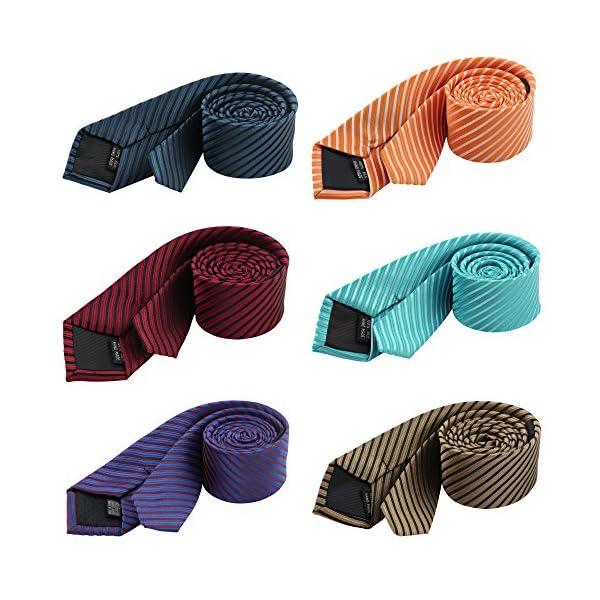 Men's Stripe Necktie Business Suit Skinny Slim Ties Cravat Mixed Set 6 Pack