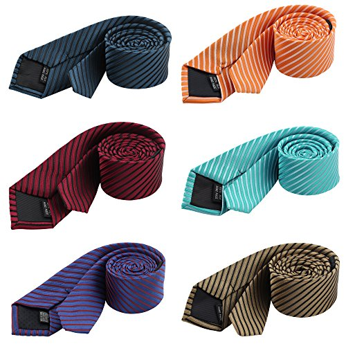 Men's Stripe Necktie Business Suit Skinny Slim Ties Cravat Mixed Set 6 Pack
