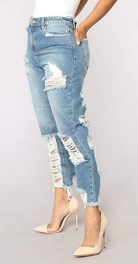 dbdd45e4fe9 YYG Womens Slim Stylish Straight Leg Ripped Ripped Jeans Denim Pants at  Amazon Women's Jeans store