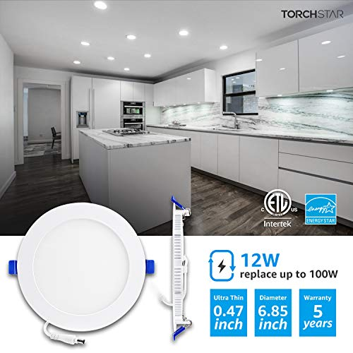 """TORCHSTAR 12W 6"""" Ultra-Thin Recessed Ceiling Light with Junction Box, 5000K Daylight, Dimmable Wafer Light Downlight, 850lm 100W Equiv. ETL and Energy Star Certified, Pack of 6"""