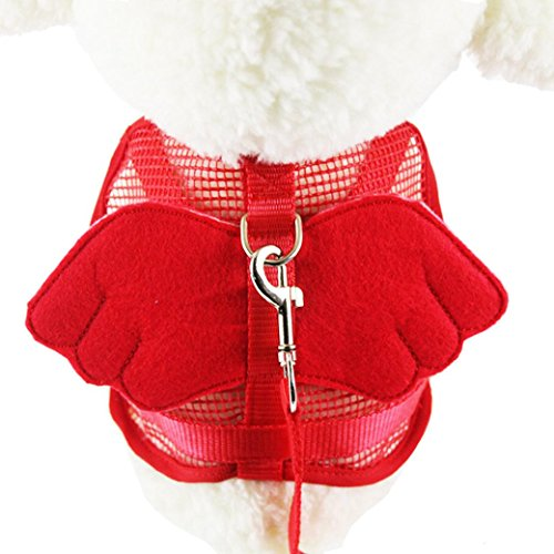 Celendi Dog Adjustable Traction Rope Vest Harness Mesh Chest Strap Lead Leash with Angel Wing (S, Red)