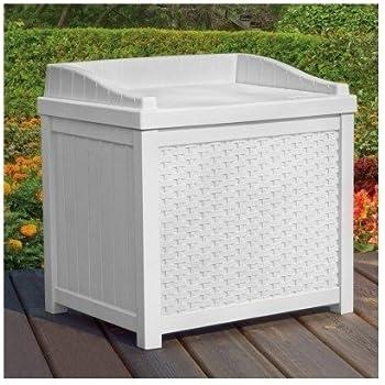 Amazon Com White Wicker Deck Seat Storage Box Outdoor