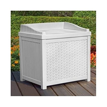 White Wicker Deck Seat Storage Box Outdoor Storage Bench Outdoor Furniture  Benches