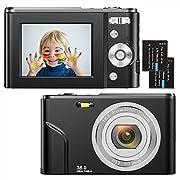 Digitalkamera 1080P HD Kompaktkamera 36 Megapixel Mini-Videokamera 2,4″ LCD Digitalkamera wiederaufladbare Fotokamera mit 16X Digitalzoom für Studenten/Erwachsene/Kinder/Anfänger(schwarz)