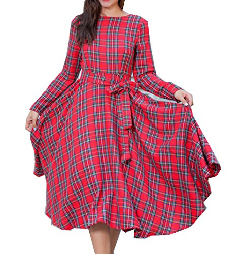 Con Rosso Da Altalena Nuovo Annata Partito Abito Ritorno 2017 Vestito Di Cintura Plaid Doris Abbigliamento Donne A Retrò Casa RIUwfg