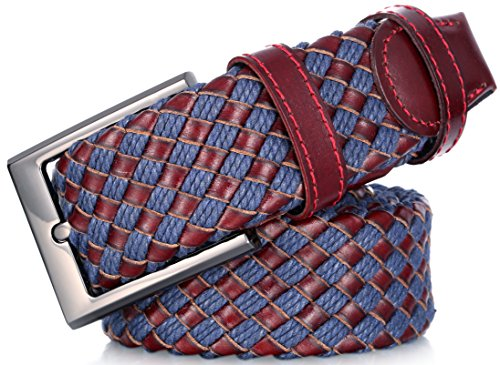 Marino Web Belt for Men, Braided Elastic and Genuine Leather Woven Dress Belt with Metal Buckle - Mahogany and Blue - Small