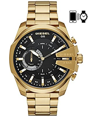 Diesel On Men's 'Mega Chief' Smartwatch Stainless Steel Smart Watch, Color:Gold-Toned (Model: DZT1013) from Diesel Connected Watches Child Code
