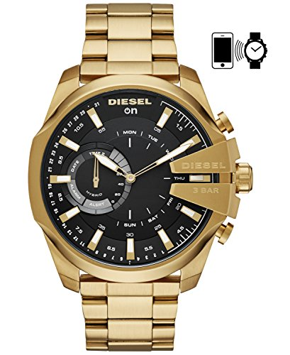 Diesel On Men's 'Mega Chief' Smartwatch Stainless Steel Smart Watch, Color:Gold-Toned (Model: DZT1013)