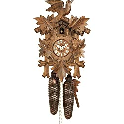 German Cuckoo Clock 8-day-movement Carved-Style 12.00 inch - Authentic black forest cuckoo clock by Hekas