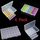 28 Grids Diamond Embroidery Box(4 Pack), Kalolary Storage Case for Diamond Painting Rhinestone, Mosaic Kits, Diamond Stones Dividers Box Organizer (2X Translucent + 2X Multicolour)