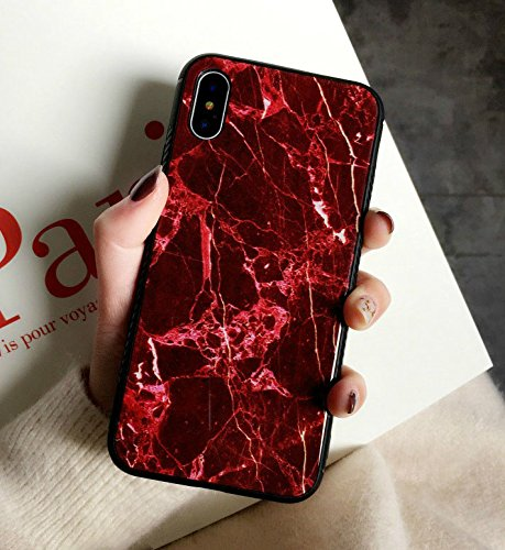(iPhone XR Case, Ebetterr Tempered Glass Hard Back Protective Cover,[Scratch Resistant][Shock Absorption] Soft Silicone Bumper TPU Frame Hybrid Shell Slim Fit Case for Apple iPhone X (2018)-Red Marble)
