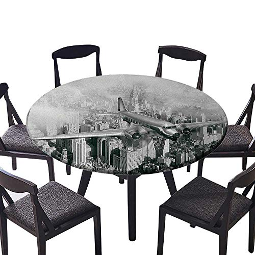 Round Premium Tablecloth Nostalgic Dated Plane Flying Over Skyscrapers in New York City Urban Life Events Stain Resistant 35.5