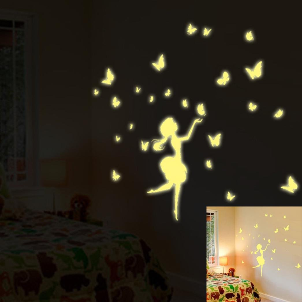 Kingko® A Set Gold Fairy Pattern Kids Bedroom Fluorescent Glow In The Dark  Stars Wall Part 88