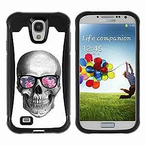 A-type Arte & diseño Anti-Slip Shockproof TPU Fundas Cover Cubre Case para Samsung Galaxy S4 IV (I9500 / I9505 / I9505G) / SGH-i337 ( Hipster Glasses Cool Skull )