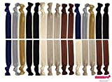 Neutral Tones Hair Ties No Crease Ponytail Holders (Available in Lots of Pack Quantities) - Ouchless Elastic Styling Accessories Pony Tail Holder Ribbon Bands - By Kenz Laurenz (30 Pack)