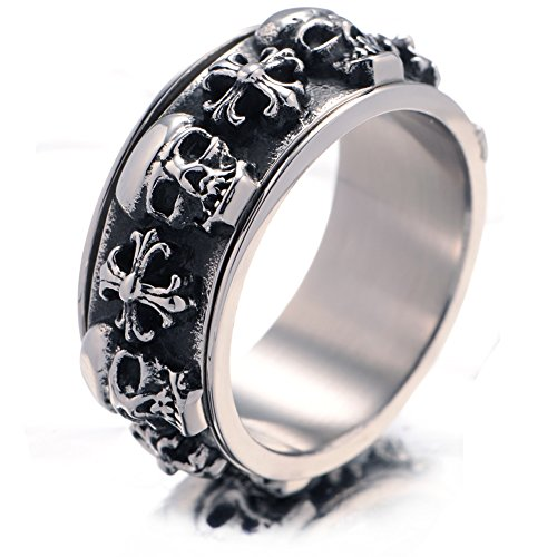 Stainless Steel Tribal Design Band (Unistyle Fashion Vintage Jewelry Mens Stainless Steel Finger Rings Unique Cool Gothic Tribal Cross Skull Spinner Ring Band Designs Biker Punk Rock Silver Black)