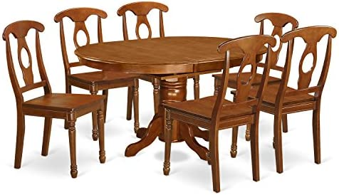 AVNA7-SBR-W 7 Pc Dining Table with Leaf and 6 Wood Kitchen Chairs in Saddle Brown