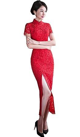 01070f46ca8f6 赤 半袖 チャイナドレスデザイン レース ワンピース 中国風チーパオ 女性 中華ドレス 民族衣装 ロング