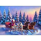 certainPL DIY 5D Diamond Painting by Number Kit, Rhinestone Embroidery Household Arts Craft for Adults, Partial Drill, Christmas Carriage (11.8x15.7inch)