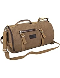 Men's Canvas 4 Ways Retro Weekend Overnight Outdoor Hiking Camping Cylinder Bag Travel Duffel Bag
