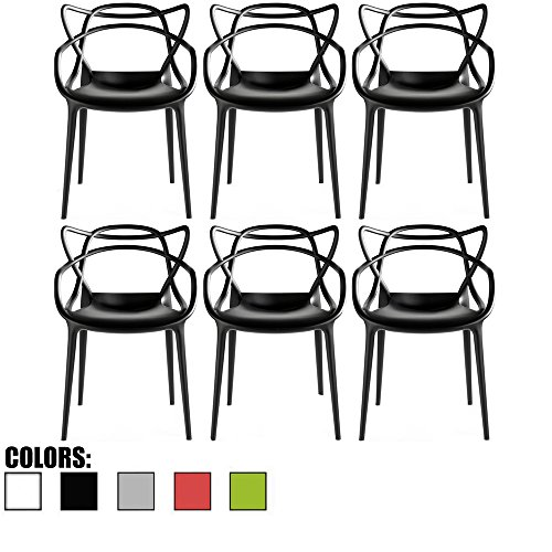 (2xhome - Set of 6 Black Dining Room Chairs - Modern Contemporary Designer Designed Popular Home Office Work Indoor Outdoor Armchair Living Family Room)