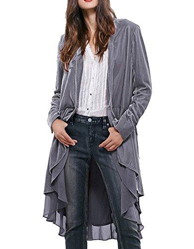 (Beebeauty Women Ruffled Asymmetric Long Velvet Blazers Coat Casual)