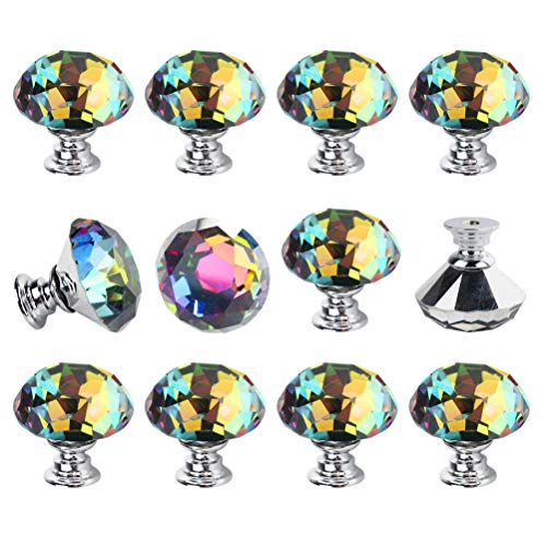 - Dxhycc 12Pcs Crystal Colorful Glass Drawer Pulls 30 mm Decorative Knobs Cabinet Knobs for Kitchen Bathroom Cabinet, Dresser and Cupboard Diamond Shape Wardrobe Pulls Handles