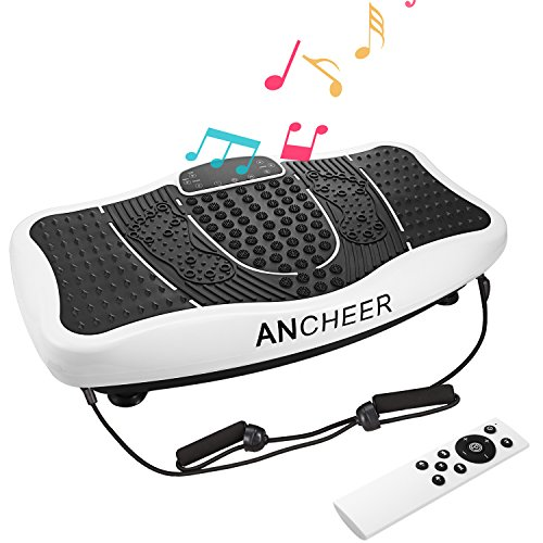 ANCHEER Fitness Massage Vibration Plate, Remote Control Whole Full Body Shaped Workout Exercise Platform Machine with USB Speaker & Two Resistance Bands