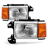 ACANII - For 1987-1991 Ford Bronco F150 F250 Truck Headlights Chrome Trim Headlamps Pair Set Driver + Passenger Side