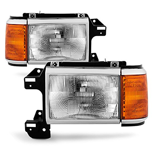 - ACANII - For 1987-1991 Ford Bronco F150 F250 Truck Headlights Chrome Trim Headlamps Pair Set Driver + Passenger Side