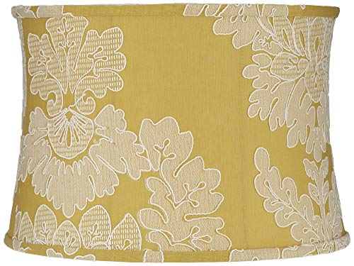 - Yellow w/Stitch Filigree Drum Lamp Shade 15x16x11 (Spider) - Springcrest