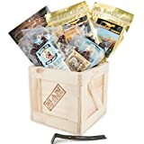 Booze-Infused Jerky Crate – Includes 8 Sampler Varieties of Deliciously Buzzworthy, Alcohol Flavored Jerky – Great Gifts for